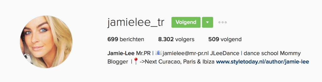 Instagram Jamie Lee Treurniet